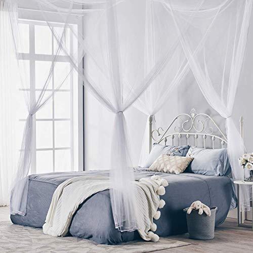 JIEJIE Europäische 4-Corner Bed Netting-Überdachung-Moskito-Netz-Zelt Stoff for Ferien Indoor Outdoor King Size Doppelbett hängendes Bett Valance, Schwarz, 190 * 210 * 240CM QIANGQIANG