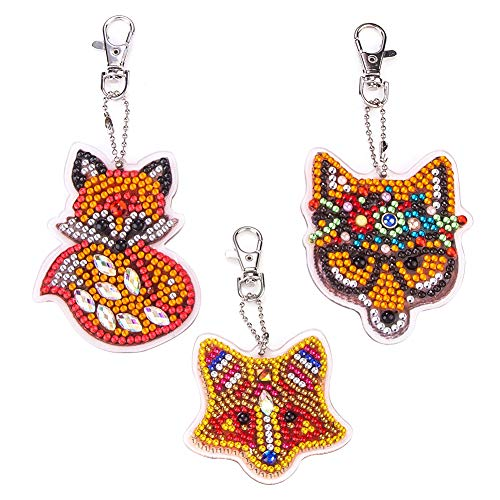 3 Pcs Full Drill DIY Diamond Painting Keychain Keyrings, Diamond Cute Animals Keychain Art Craft Key Chain Diamond Painting Pendant Keychain Keyrings for DIY Key Ring Phone Charm Bag Decor