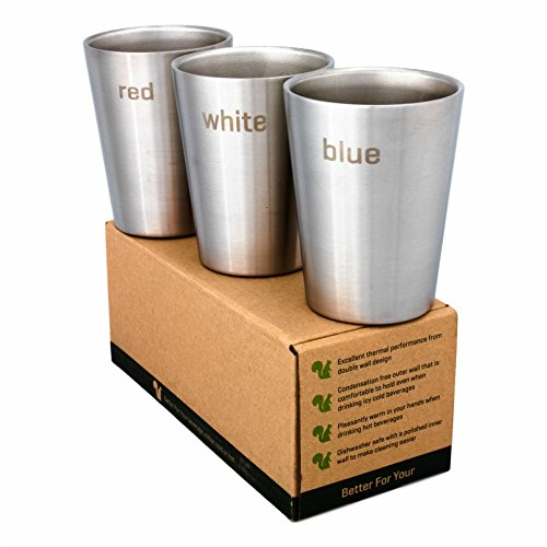 Better For Your - Espresso Cups Stainless Steel Double Wall - Wine Tumblers - Set of 3-8oz / 250ml - Color Words - red - white- blue