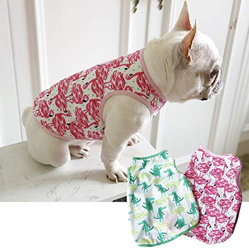 CheeseandU 1PC Pet Dog Summer Vest, 2019 Cute French Bulldog Dog Pure Cotton Fashion T-Shirt Breathable Soft Sleeveless Top Summer Dog Clothes for Small Medium Dogs Breeds Cats, Pink Flamingo