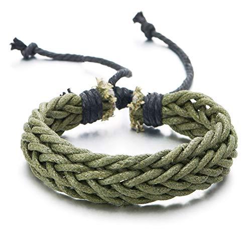 COOLSTEELANDBEYOND Verde Trenzado Algodón Cuerda Pulsera de Hombre Mujer, Pulsera del Abrigo, Ajustable