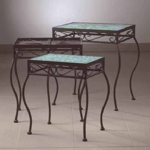Bastelmaxi Mosaiktisch Tischrohling Tisch 3-er Set mit geschwungenen Beinen, schwarz, rechteckig