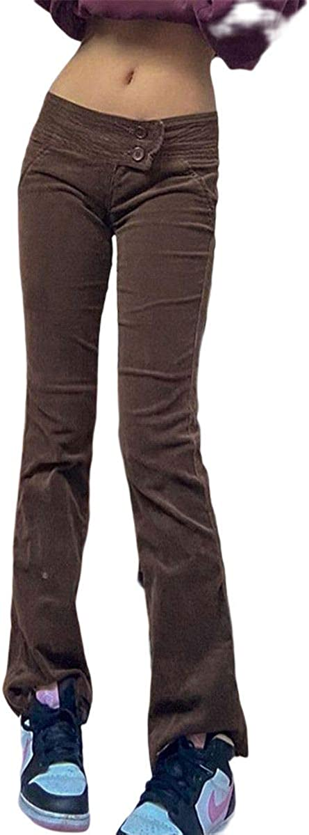 Women's Corduroy Pants Straight Leg Cargo Pants Mid Waist Solid Color Vintage Trousers Fall Winter Casual Clothes