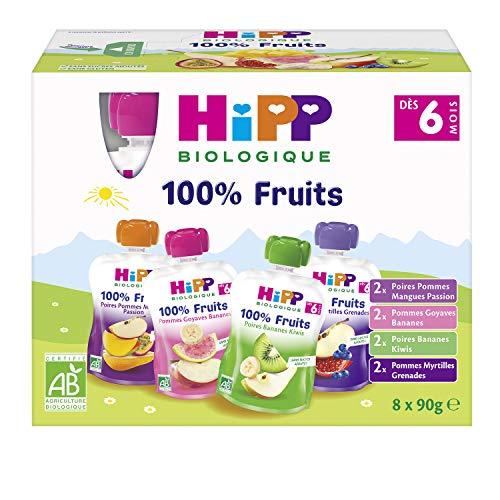 HiPP Biologique Multipack gourdes 4 variétés dès 6 Mois - 32 x 90 g