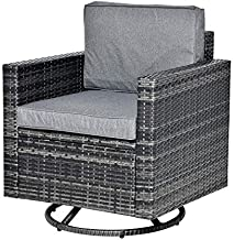 Outsunny Rattan Wicker Swivel Rocking Chair with Armchair, Soft Thick Cushions, Outdoor Swivel Club Chair with Strong Steel Frame, Grey