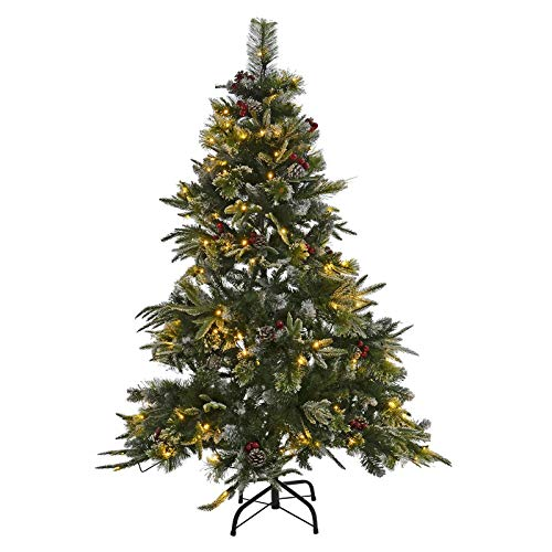 Mr Crimbo Pre-Lit Christmas Tree Artificial Pencil Slim Frosted Pine Cones Berries 1.5m