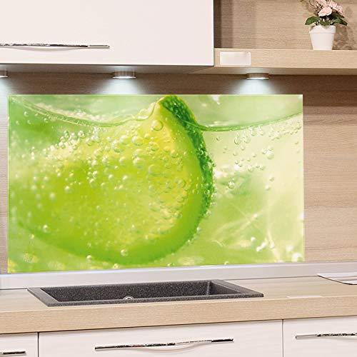 GRAZDesign Spritzschutz Grün Limette - Küchenrückwand Glas als Wand Schutz Herd - Glasbild als Kunstdruck - Edles Glas / 80x50cm