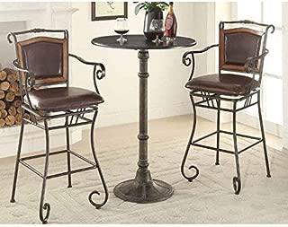 Oswego Round Bar Table Dark Russet and Antique Bronze