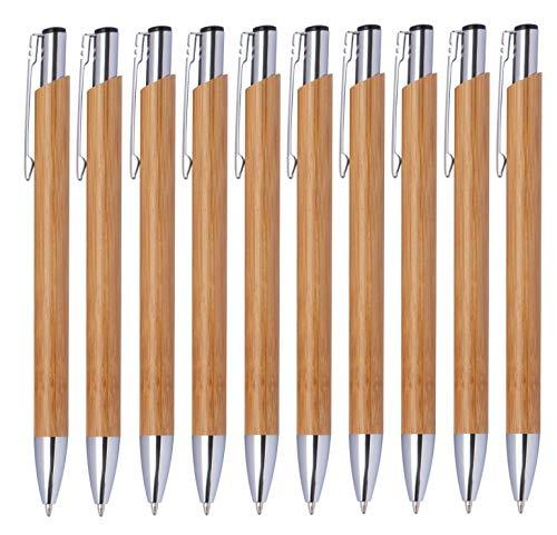 StillRich Industries 10 Stück Bambus Kugelschreiber Set Premium Kulli, ballpoint pen, hochwertige, ergonomische und blauschreibende Kugelschreiber (Bambus)