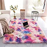 NTBED Soft Shaggy Area Rug for Girls Bedroom Sofa Living Room Rectangle Fluffy Bedside Rugs Colorful Abstract Multi Plush Fuzzy Decorative Floor Carpet (3x5 Feet, Pink-Purple)