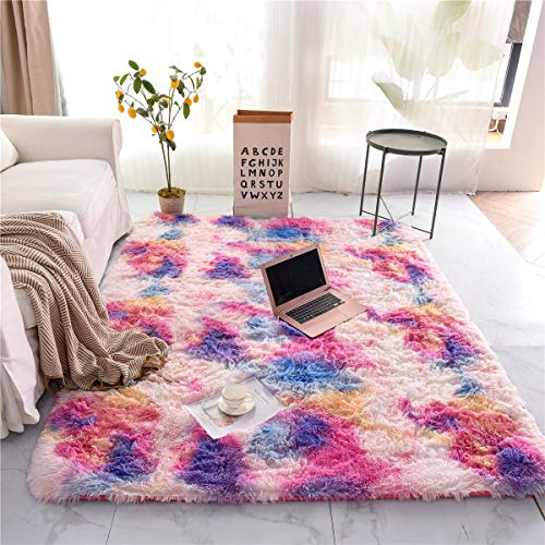 NTBED Soft Shaggy Area Rug for Bedroom Sofa Living Room Tie Dye Fluffy Bedside Rugs Colorful Abstract Multi Plush Fuzzy Decorative Floor Carpet for Girls (5x8 Feet, Pink-Purple)