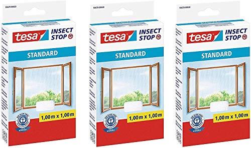 tesa Insect Stop STANDARD Fliegengitter für Fenster - Zuschneidbares Moskitonetz - Mückenschutz ohne Bohren - Fliegen Netz weiß, 100 cm x 100 cm (3)