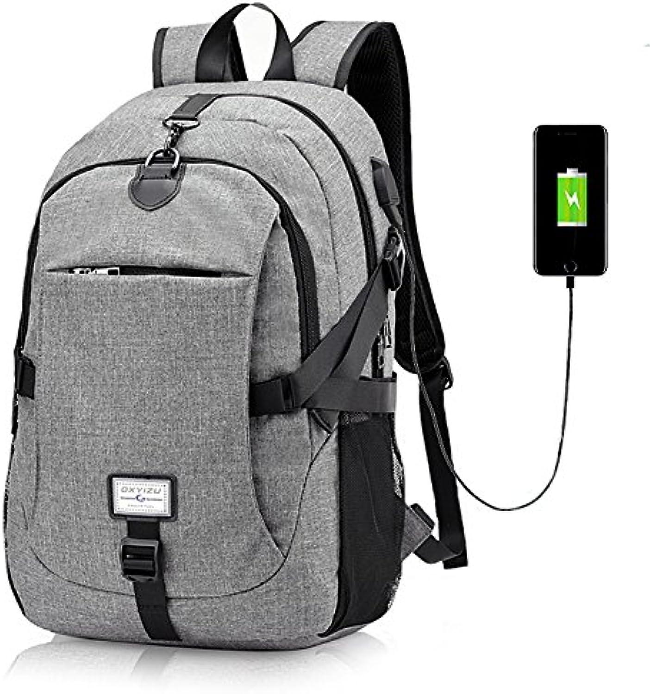 ShopSquare64 IPRee 49x32x16cm Segeltuch Anti-Diebstahl-Reise-Rucksack mit USB-Lade-Port Tragbare wiederaufladbare Tasche