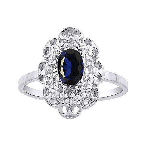 Juego de anillos de diamantes y zafiro en plata de ley con halo de diamante