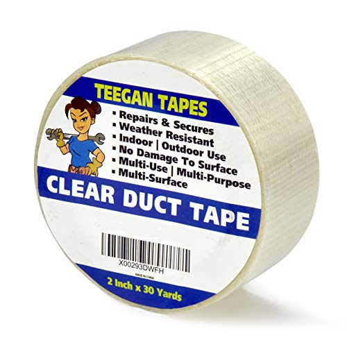 Transparent Duct Tape, Ultra High Performance Weather Resistant Tape for Discreet Repairs and Mounting | Residential, Commercial and Industrial Uses | 2 inch by 30 Yards