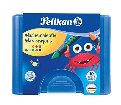 Pelikan 723155 - Wachsmalstifte 655 / 10 in einer Schiebehülse, wasservermalbar (1 x Box, blaue Box)