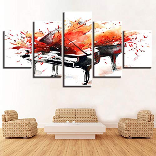 BKONF Canvas Print Painting Home Decor 5 Panels Abstract style piano Wall Art Picture for Living Room Office Wall Decorations Ready to Hang,A,30×40x2+30×60x2+30x80×1