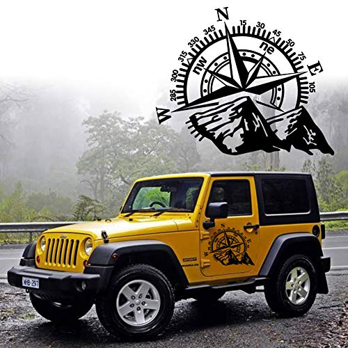 Leasinder 23.6''x19.3' Mountain Compass Stickers Decal for Car Hood Auto Body Side Door Compass Graphics Car Stickers Waterproof Vinyl Stripe Decal for Jeep Truck SUV Off-Road Vehicles (Black)