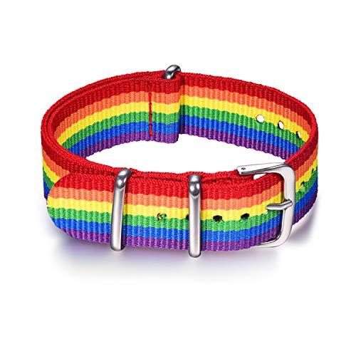Bandmax Nylon NATO Uhrenarmband 18mm LGBT Regenbogen Ersatzarmband mit Edelstahl Schnalle Uhren Armband Sportarmband Accessoire für Damen Herren Kompatibel für die meisten Uhren