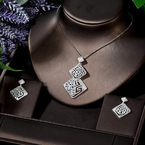 LIYDENG Joyas Nuevo Diseño Geométrico AAA CZ Collar Y Pendientes Conjuntos para Mujeres Fashion Party Girlfriend Regalo (Color : White Color)