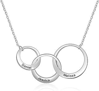 Roapk - Collana con 3 cerchi, in acciaio inox, con ciondolo a forma di cuore, idea regalo per le donne e la famiglia