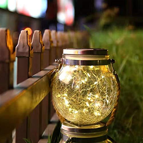 ソーラーライト明るく暖かい防水LEDナイトグラス吊り下げライト自動メイソンジャー装飾庭、庭、パティオ、フェンス、木の装飾、寝室、庭、パーティー、屋外屋内、ハロウィン、理想的なギフト (白 1 pcs)