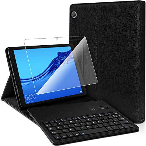 Karylax - Funda protectora con teclado Azerty Bluetooth y 1 protector de pantalla para Huawei Mediapad T5 de 10,1 pulgadas
