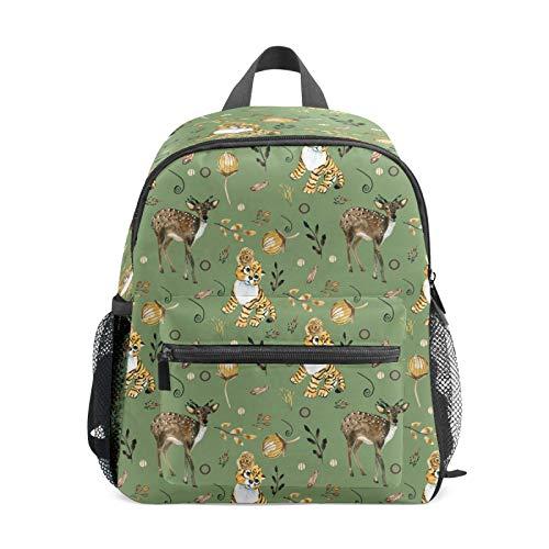 Mochila infantil para niños de 1 a 6 años de edad, mochila perfecta para niños y niñas de tigre, sika, ciervo, hojas verdes