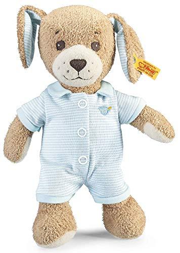 Steiff Gute Nacht Hund - 28 cm - Plüschhund mit Schlappohren - Kuscheltier für Babys - weich & waschbar - beige / blau (239687)