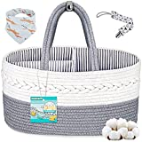 Baby Diaper Caddy Organizer, Cotton Rope Diaper Storage Basket Portable for Newborn Baby Boys and Girls, Nursery Storage Bin for Changing Table Crib Car Travel with Essential Handle Locker
