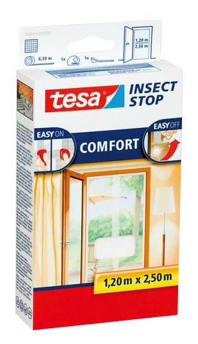 tesa Insect Stop COMFORT Fliegengitter für Türen - Insektenschutz Tür mit Klettband - Fliegen Netz ohne Bohren - Weiß ( 2 x 65 cm )120 cm x 250 cm