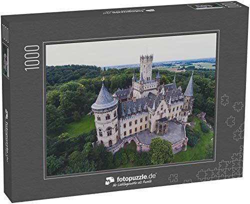 fotopuzzle.de Puzzle 1000 Teile Blick auf die Marienburg, eine gotische Wiedergeburtsburg in Niedersachsen, Deutschland, bei Hannover, Drohnen-Luftaufnahme
