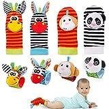 FancyWhoop Baby Rasseln Socken Spielzeug 8er Handgelenk Rassel und Fuß Finder Socken Set Developmental Toys Kit für Neugeborene, Mädchen und Jungen 0 1 2 3 4 5 6 Monate (8 Stück) (Orange)