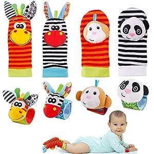 FancyWhoop Sonajeros de Muñeca Bebe Sonajero de Pies y Manos Juguetes de Desarrollo Animal Lindo Calcetines Sonajero para 0-12 Meses Recién Nacido Niño Niñas (Naranja)