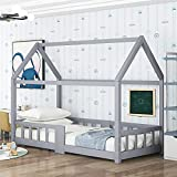 Cama infantil de 90 x 200 cm, cama juvenil de madera para habitación infantil, incluye pizarra, somieres de láminas, protección anticaídas, de madera de pino, sin colchón (gris)