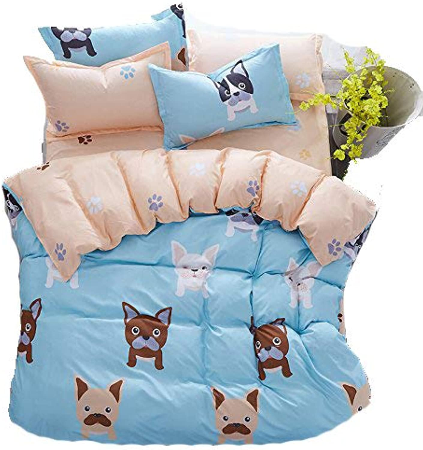 4pcs Bedding Sets Bedroom Set with 1 BedSheet 1 Duvet Cover 2 Pillowcase with Twin Full Queen Size Best Gifts (Full, Cute Dog)
