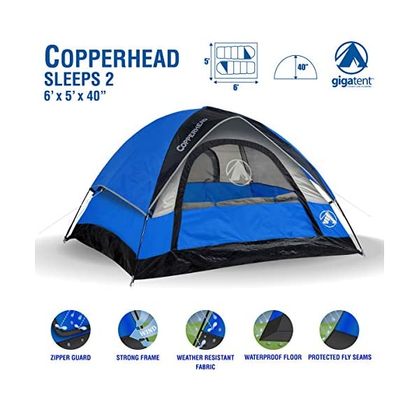 GigaTent-6-X-5-1-2-Person-3-Season-Dome-Tent-Waterproof-UV-Resistant-Fabric-Carry-Bag-Included