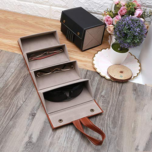 NAIXUE Four-compartment Glasses Storage Box, Simple and Stylish, Convenient Storage, Soft and Durable,4 Slots Foldable PU Leather Sunglasses Eyeglasses Eyewear Travel Organizer Case