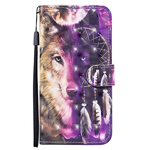 QFUN Leder Hülle für Samsung Galaxy A21S mit Kartenfach, Schön Wolf Motiv Design Magnetverschluss Ständer Handyhülle Klappbar Stoßfest Schutztasche mit Handschlaufe