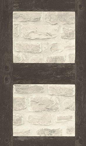 rasch Tapete 860504 aus der Kollektion b.b home passion VI – Vliestapete im Industrial Style mit dunklen Holzbalken & heller Backsteinwand – 10,05m x 53cm (L x B)