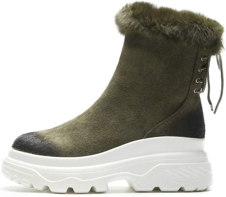 Women's Ankle Boots Suede Autumn Winter Thick-Soled Platform shoes Snow Boots Side Zipper Cotton shoes Black Green (color   A, Size   40)