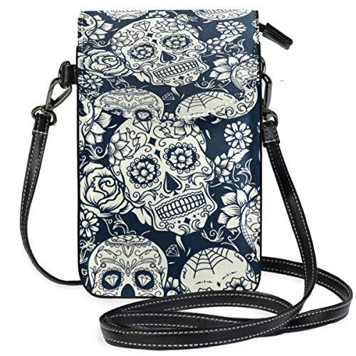 XCNGG Monedero pequeño para teléfono celular Skull Cell Phone Purse Wallet for Women Girl Small Crossbody Purse Bags