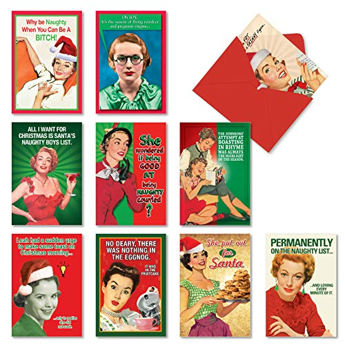 NobleWorks, Naughty is Nice - 10 Adult Funny Christmas Cards Boxed - Vintage, Retro Assorted Xmas Cards for Women, Wife A1255