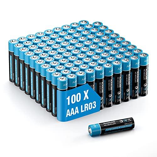 Pilas alcalinas LR03 - Lote de pilas alcalinas (100 unidades, 1,5 V, capacidad de almacenamiento de 10 años)