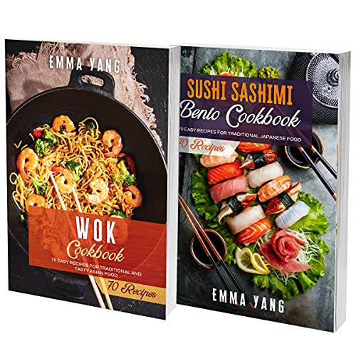 Wok And Sushi Cookbook: 2 Books In 1: 140 Recipes For Classic Asian Wok And Bento Dishes (English Edition)