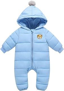 Minizone Baby Schneeanzüge Overalls mit Kapuze Winter Strampler Baumwolle Jumpsuit Outfits 9-24 Monate
