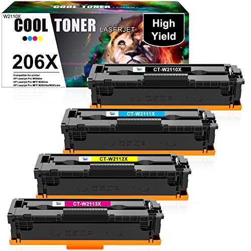 Cool Toner Compatible Toner Cartridge Replacement for HP 206X 206A W2110X HP Color Laserjet Pro MFP M283fdw M255dw M283cdw M283 M255 Printer W2111X W2112X W2113X Ink (Black Cyan Yellow Magenta, 4Pack)