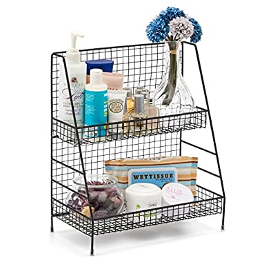 2-Tier Organizer Rack, EZOWare Wire Basket Storage Container Countertop Shelf for Kitchenware Bathroom Cans Foods Spice Office and more - Black