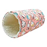 Handmade Fleece Small Animal Tunnel Collapsible Pet Play Toy Tunnel Tube for Dwarf Rabbit Hamster Guinea Pig Toys Chinchilla Sugar Glider Hedgehog Hideout Cave (Pink)