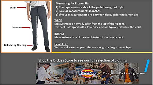 Dickies Men's Skinny Straight Fit Work Pant, Black, 32×30
